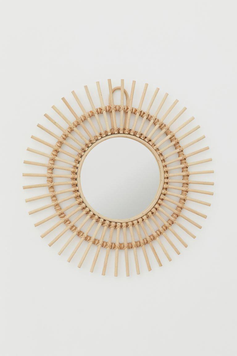 Espejo de mimbre con forma de sol de HM