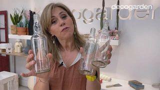 Florero de madera con botellas de vidrio recicladas - Paso 1