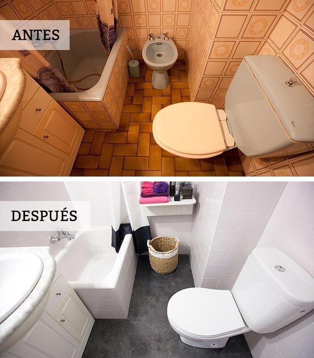 Renovar un cuarto de baño quitando el bidet (antes y después)