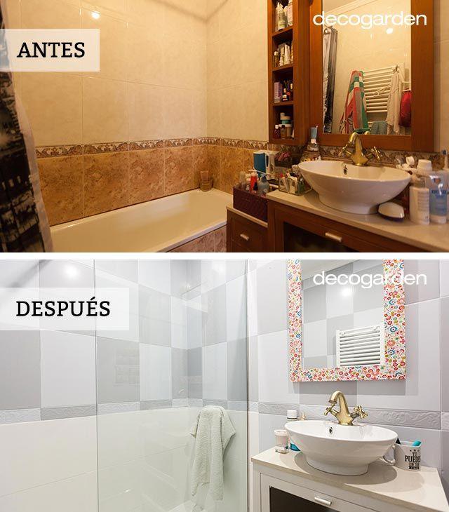 Renovación de cuarto de baño pequeño con bañera (antes) y con ducha (después)