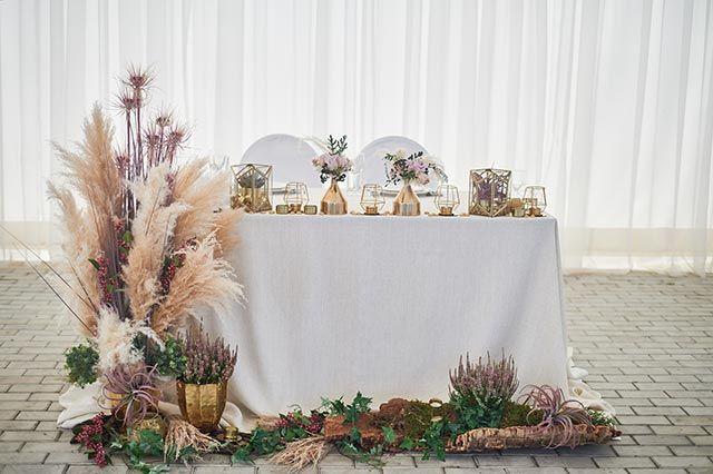 Decoración de boda con flores preservadas