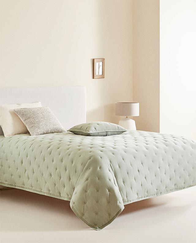 Edredón de tacto suave verde de Zara Home