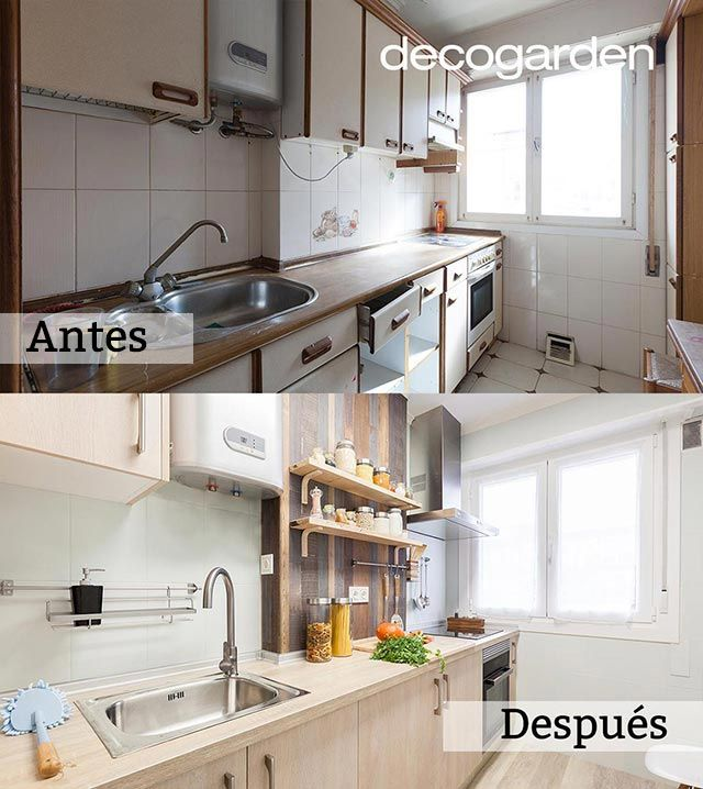 Pintar azulejos: Antes y después (Cocina pequeña en madera)