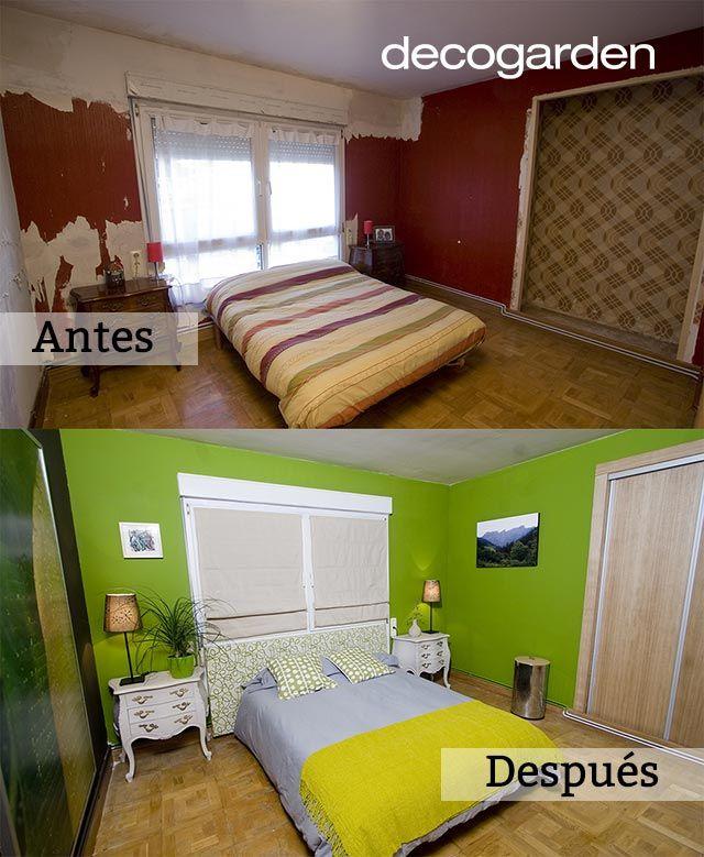 Arriba: Dormitorio sin decorar, abajo: Dormitorio renovado