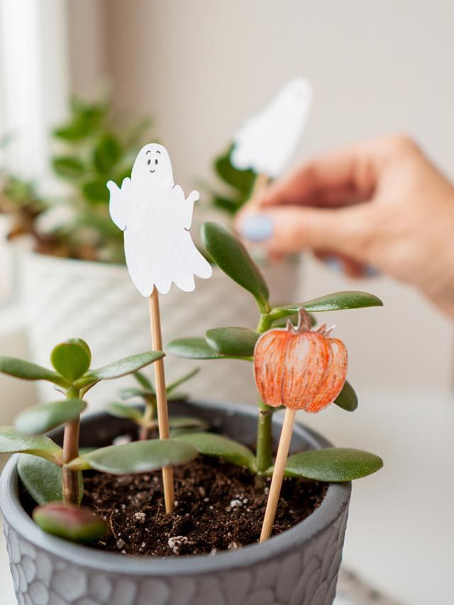 Pegar las ilustraciones de Halloween en palitos