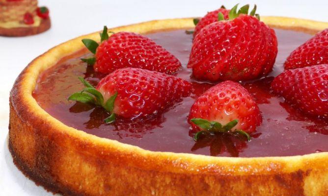 Tarta de queso al horno con fresas en la comunidad de cocina - Postres con fresas naturales ...