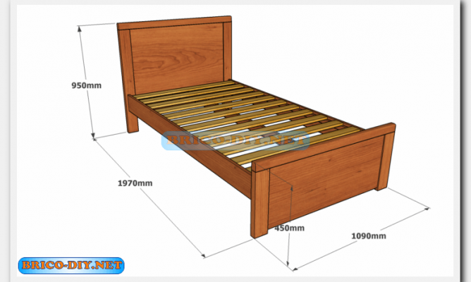 Plano cama de madera plaza y media en la comunidad de for Cama de plaza y media