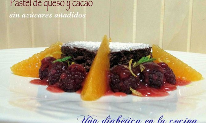 Pastel de queso de untar y cacao sin az car a adido en la - Postres con queso de untar ...